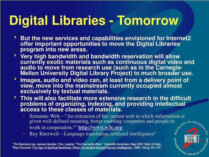 Digital Libraries - Tomorrow