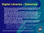 digital libraries tomorrow