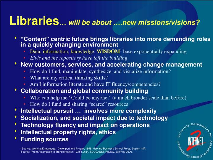 Libraries will be about new missions visions