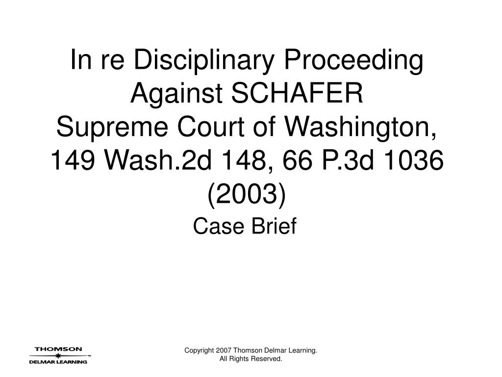 In re Disciplinary Proceeding Against SCHAFER