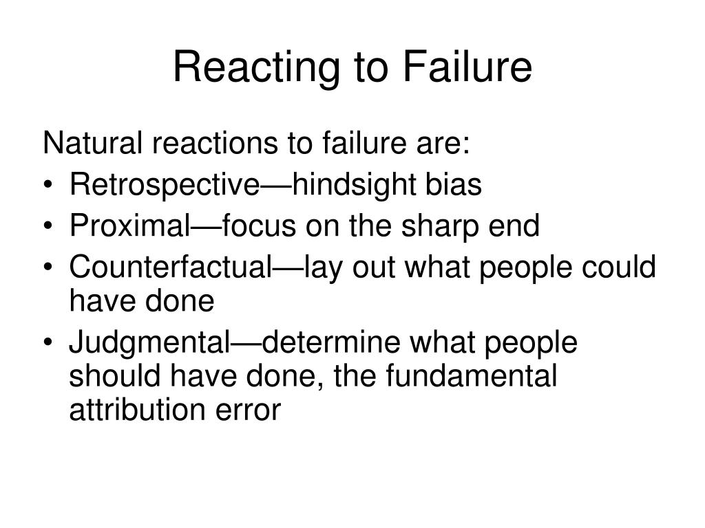 Reacting to Failure