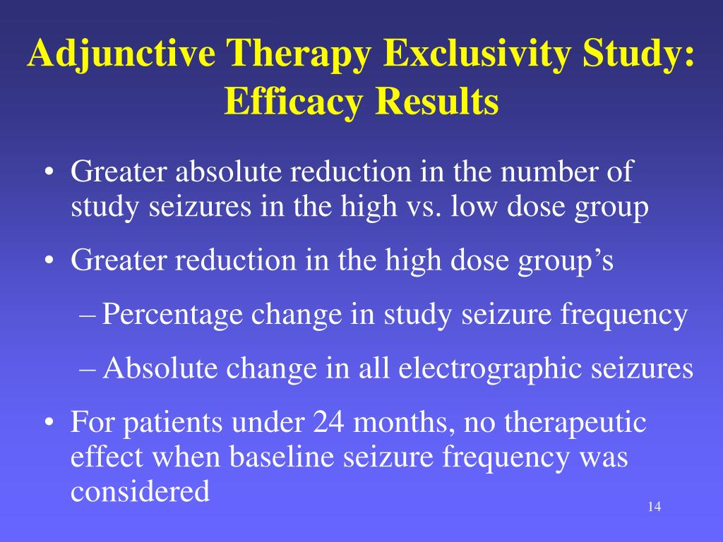 Greater absolute reduction in the number of study seizures in the high vs. low dose group