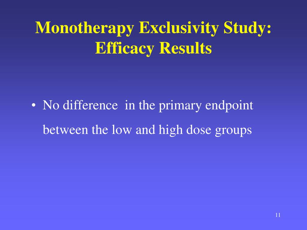 Monotherapy Exclusivity Study: