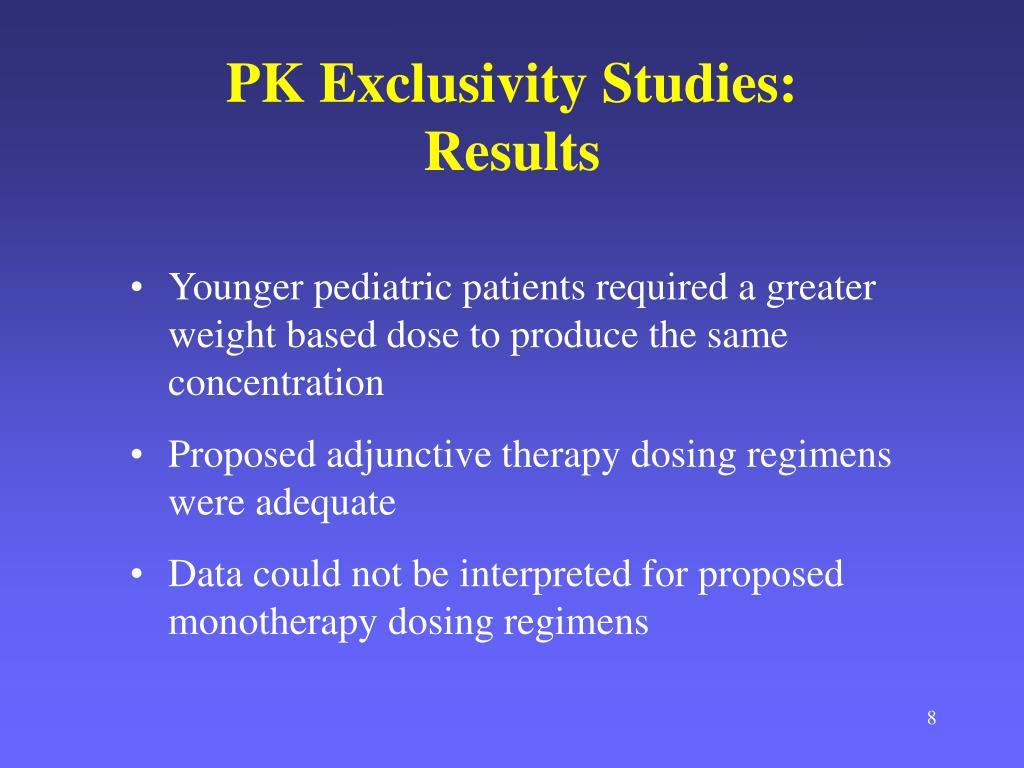 PK Exclusivity Studies: