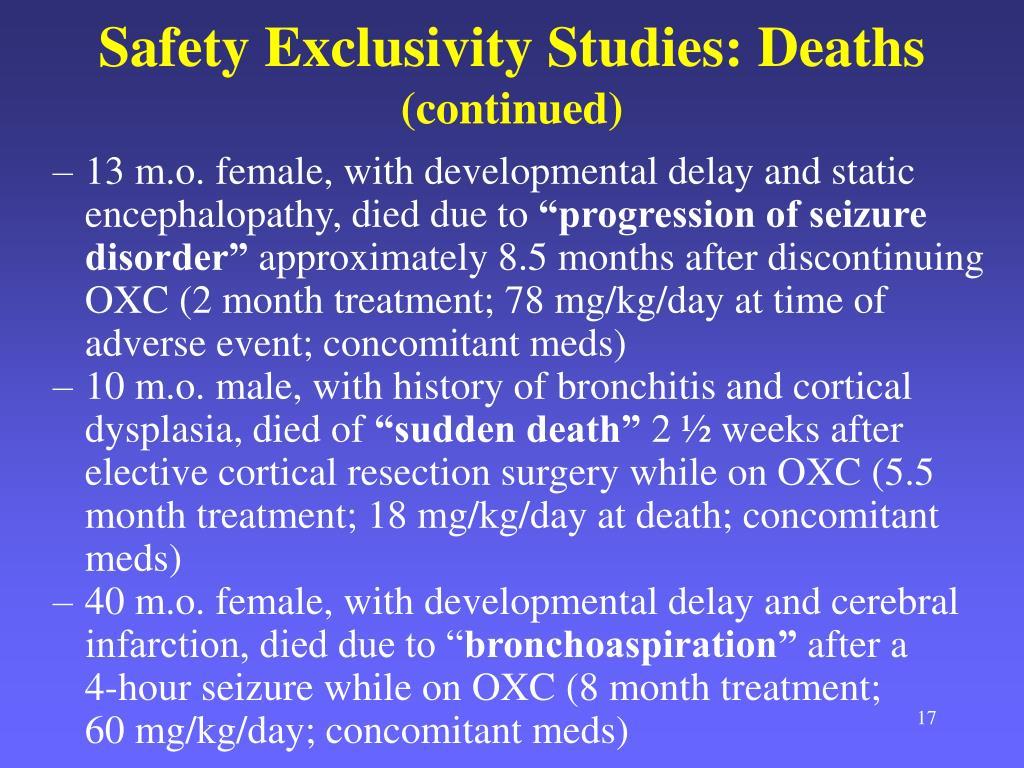 Safety Exclusivity Studies: Deaths