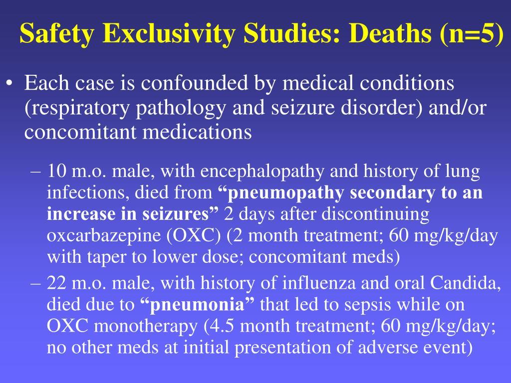 Safety Exclusivity Studies: Deaths (n=5)