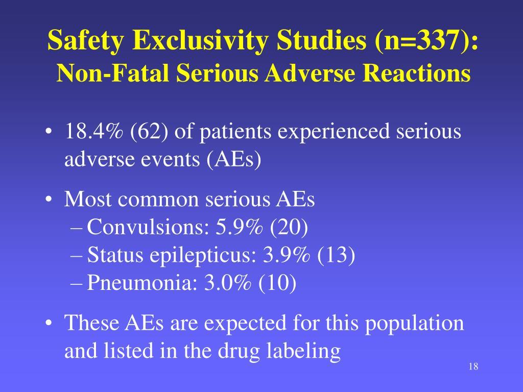 Safety Exclusivity Studies (n=337):