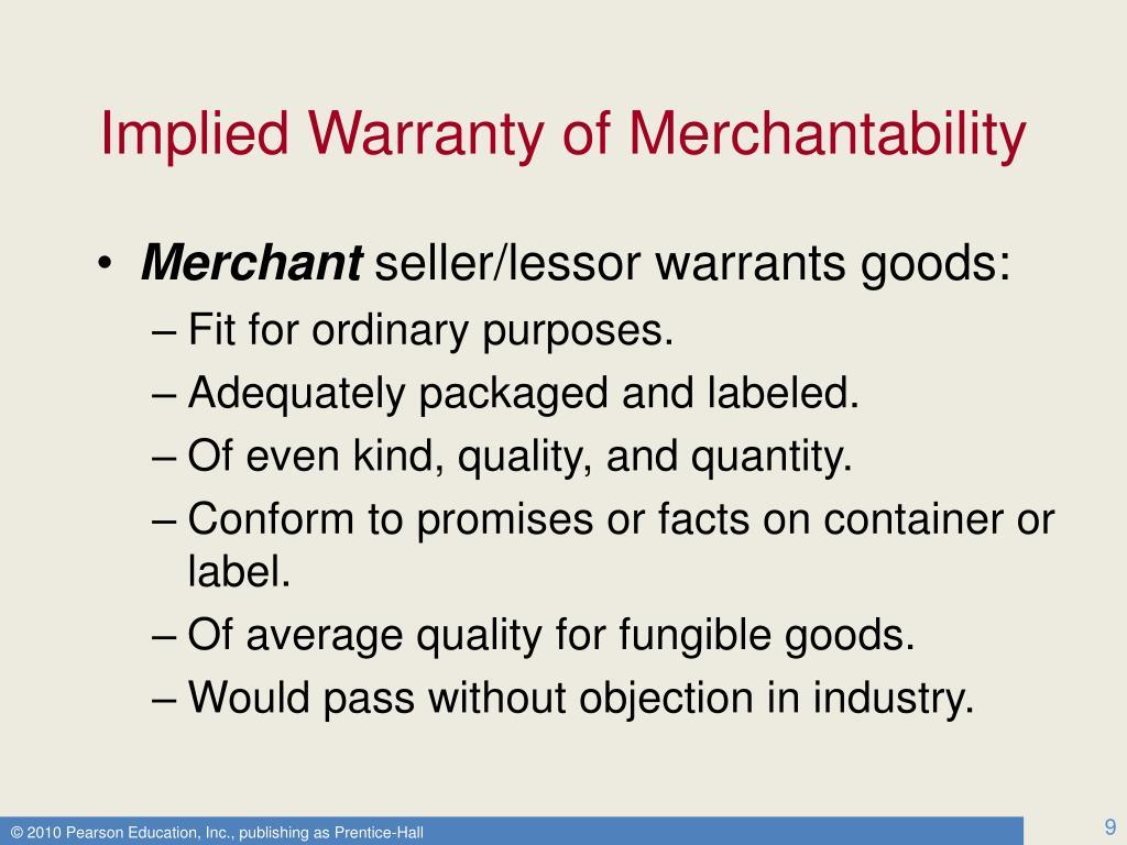 Implied Warranty of Merchantability