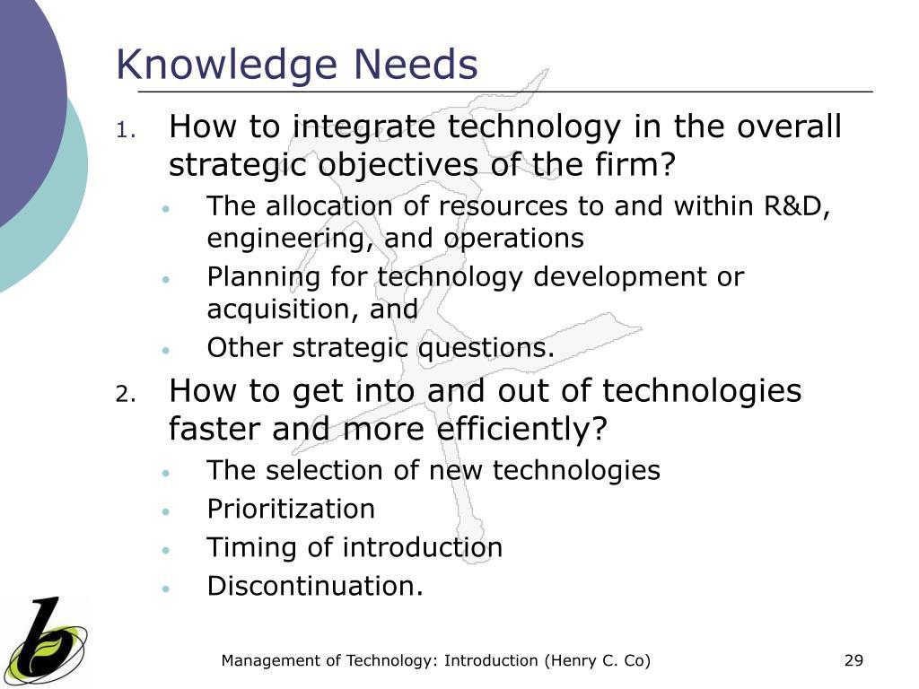 Knowledge Needs