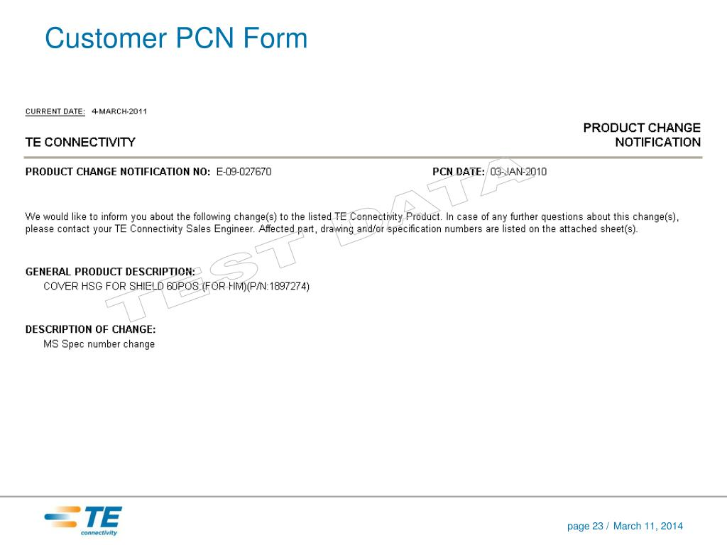 Customer PCN Form