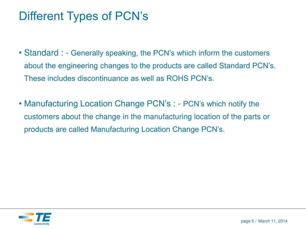 Different Types of PCN's