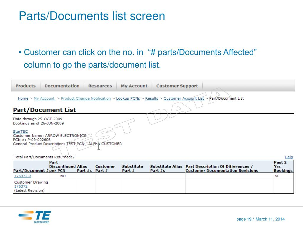 Parts/Documents list screen