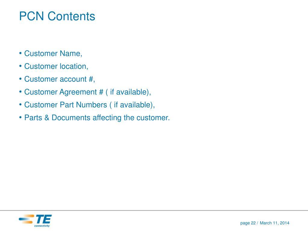 PCN Contents