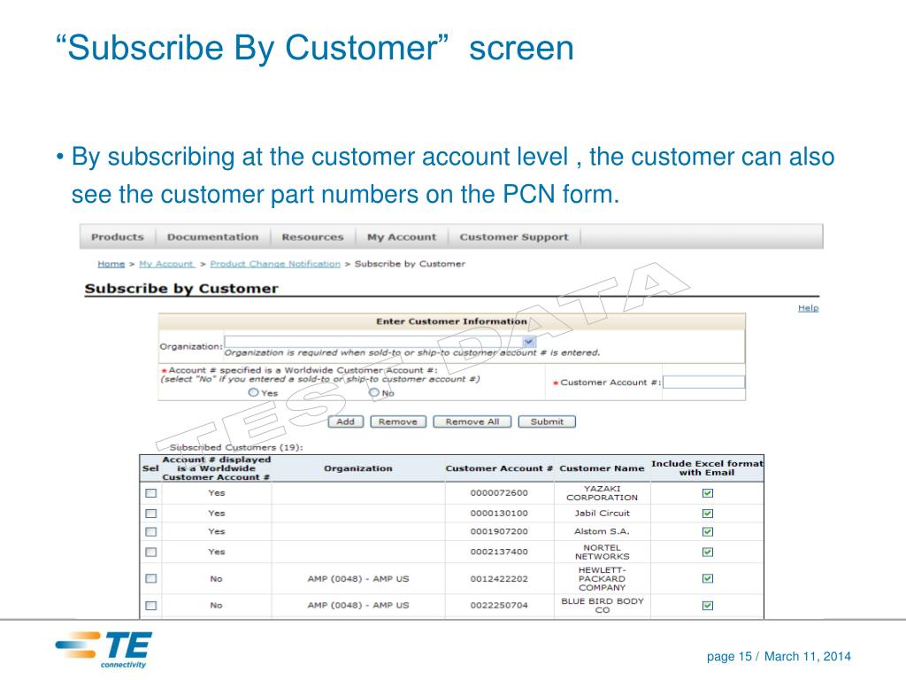 """Subscribe By Customer""  screen"