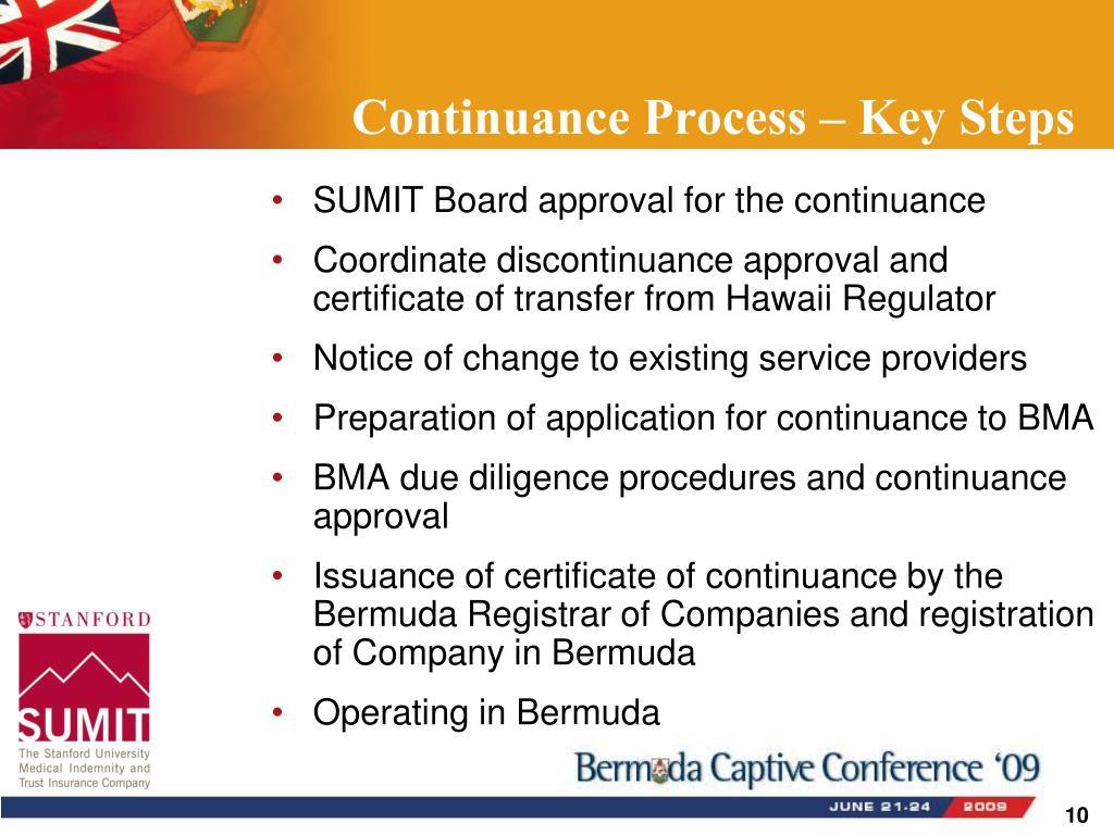Continuance Process – Key Steps