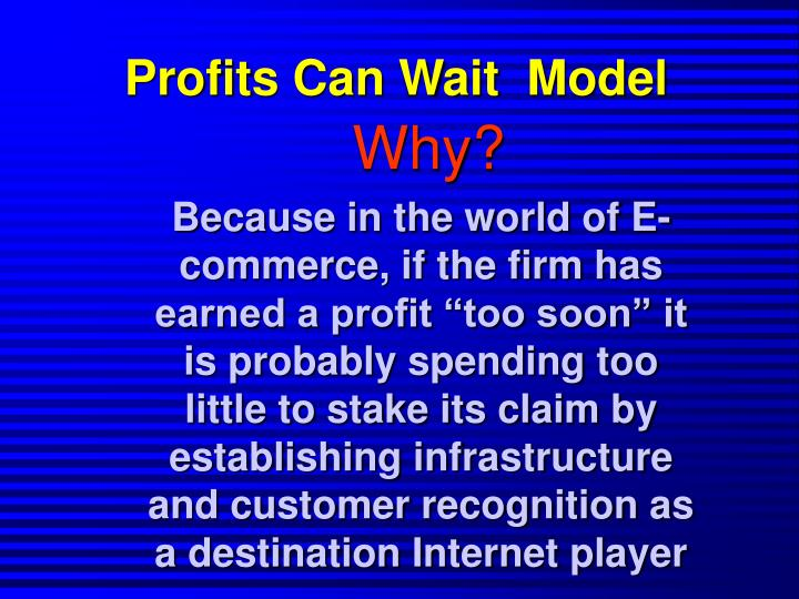 Profits Can Wait  Model
