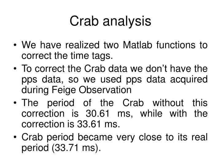 Crab analysis