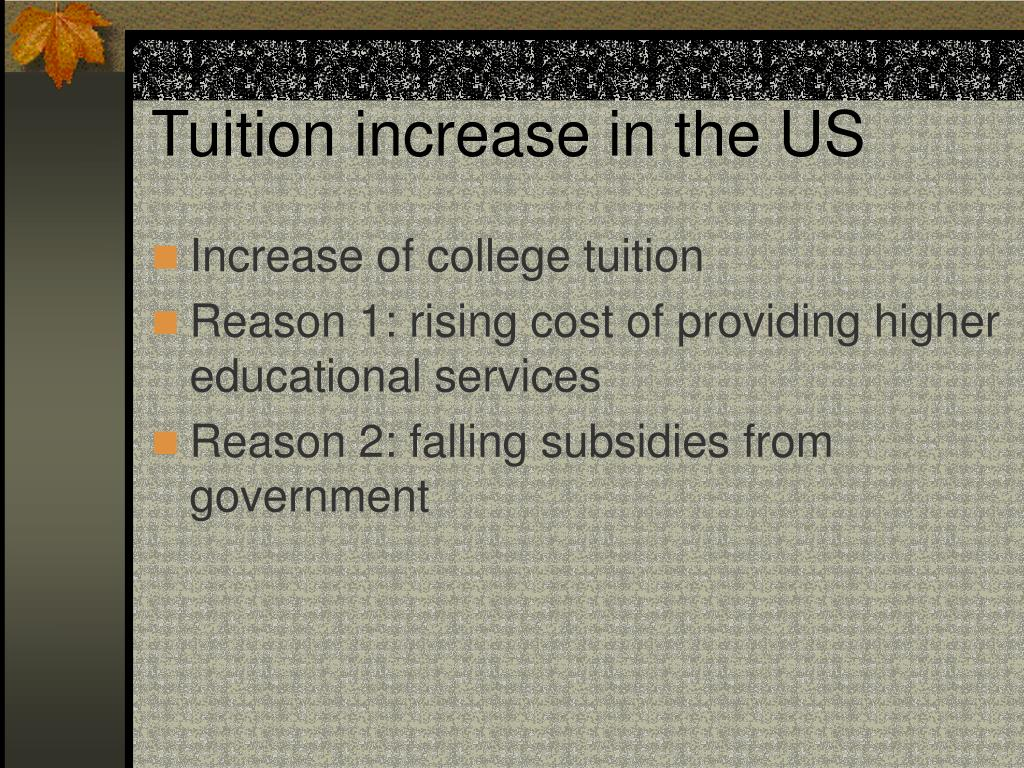 Tuition increase in the US