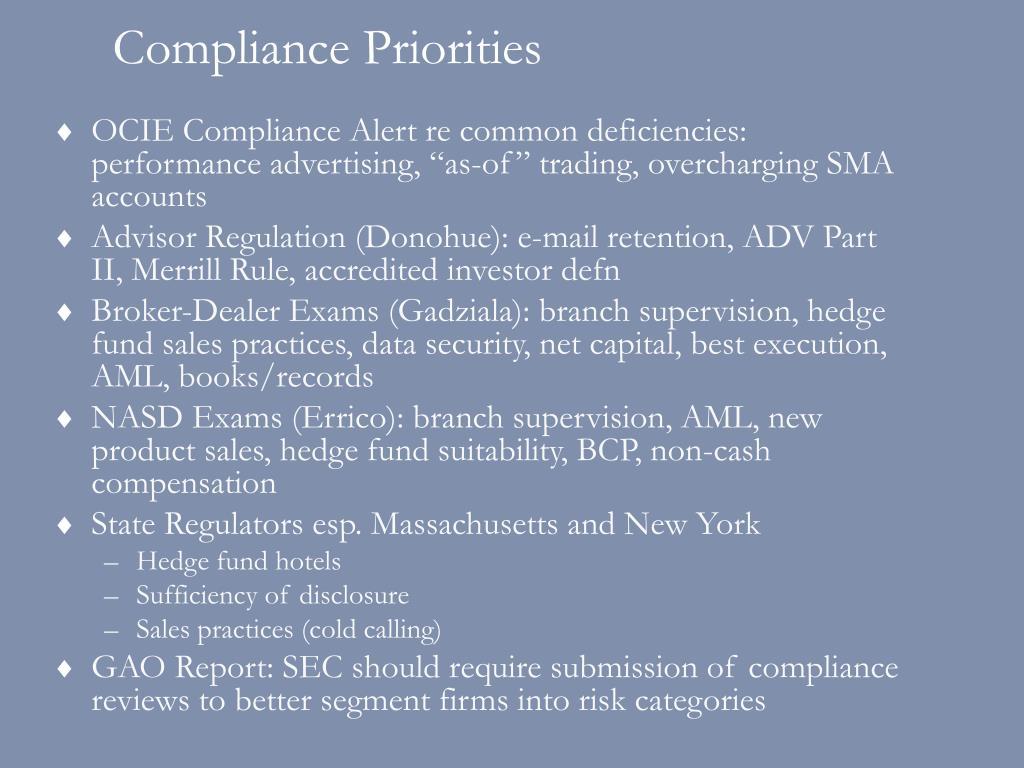 Compliance Priorities