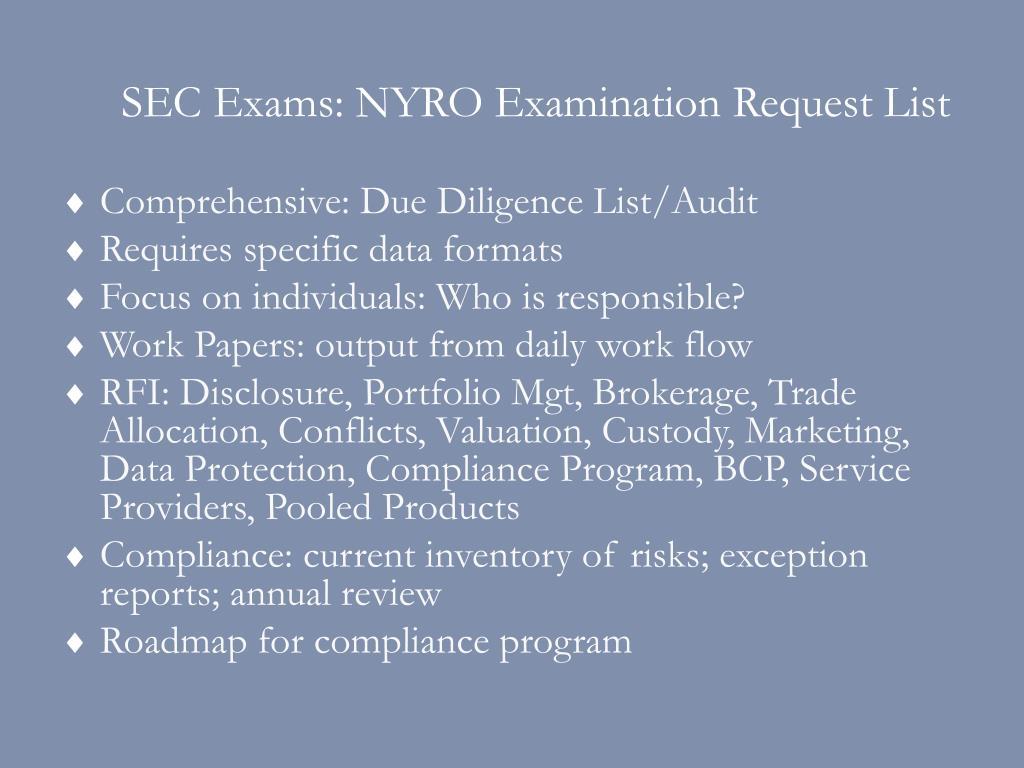 SEC Exams: NYRO Examination Request List