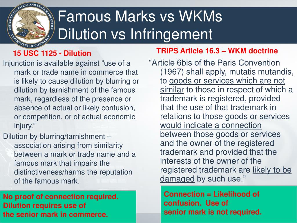 "Injunction is available against ""use of a mark or trade name in commerce that is likely to cause dilution by blurring or dilution by tarnishment of the famous mark, regardless of the presence or absence of actual or likely confusion, or competition, or of actual economic injury."""