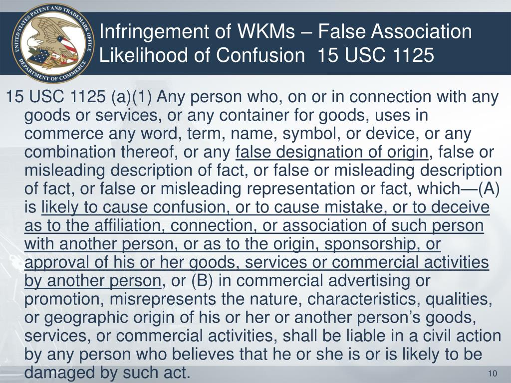 Infringement of WKMs – False Association Likelihood of Confusion  15 USC 1125
