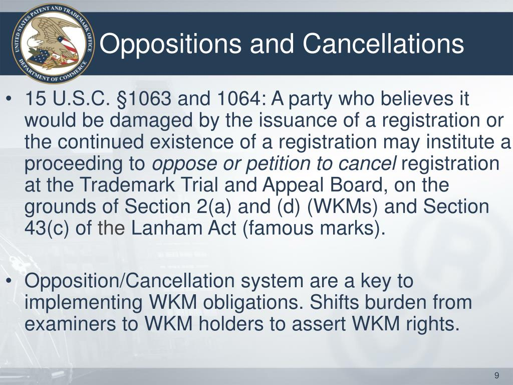 Oppositions and Cancellations