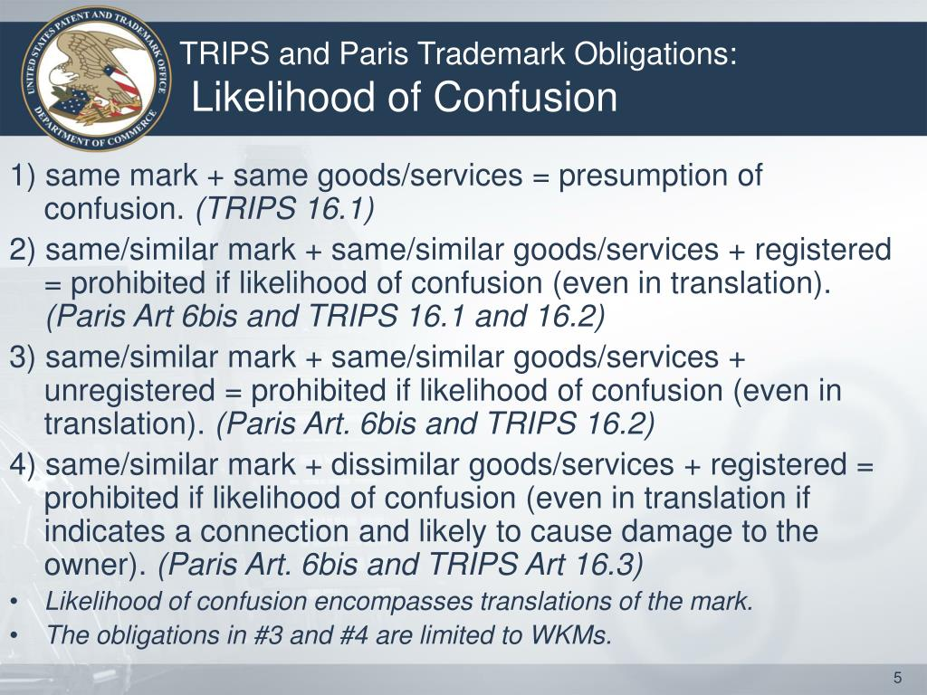 TRIPS and Paris Trademark Obligations: