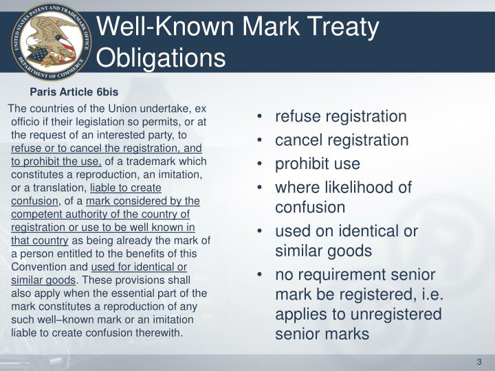 Well known mark treaty obligations