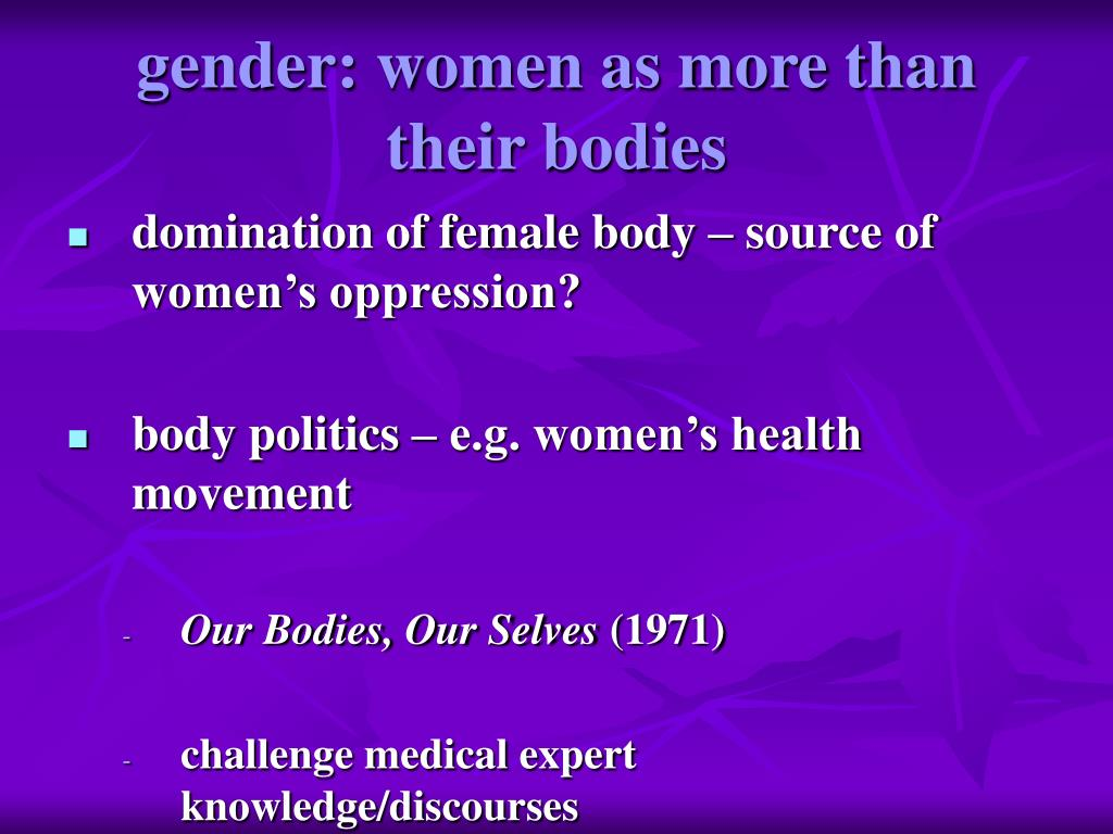 gender: women as more than their bodies