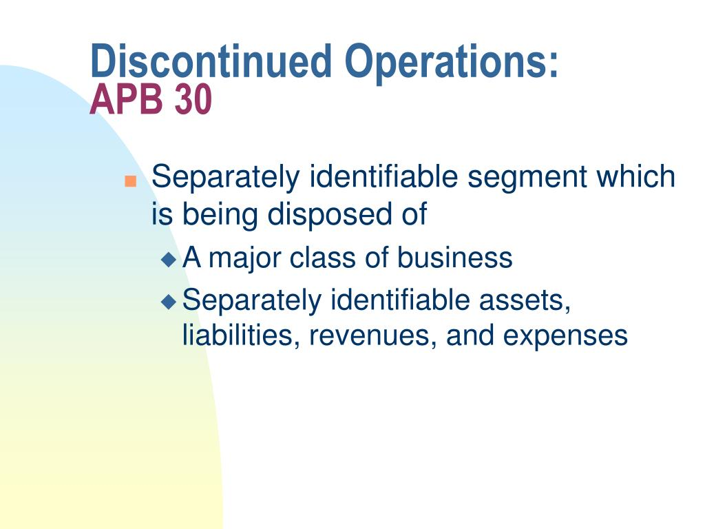 Discontinued Operations: