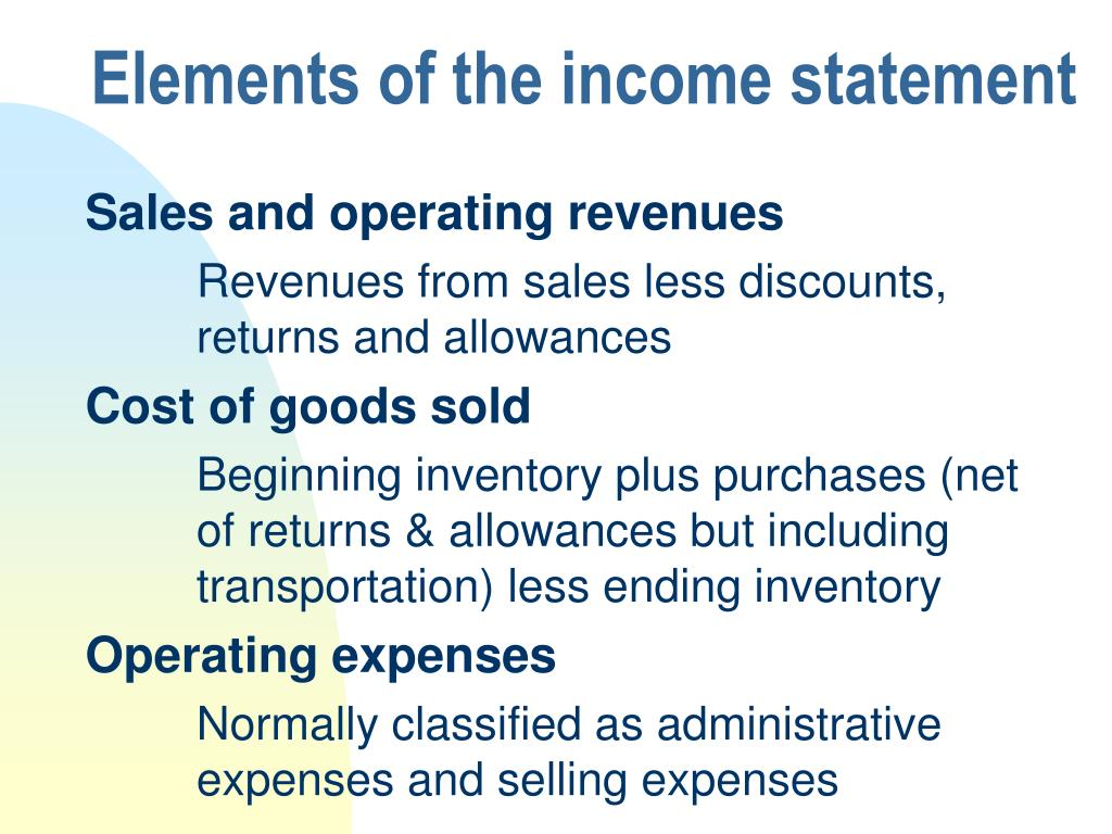 Elements of the income statement