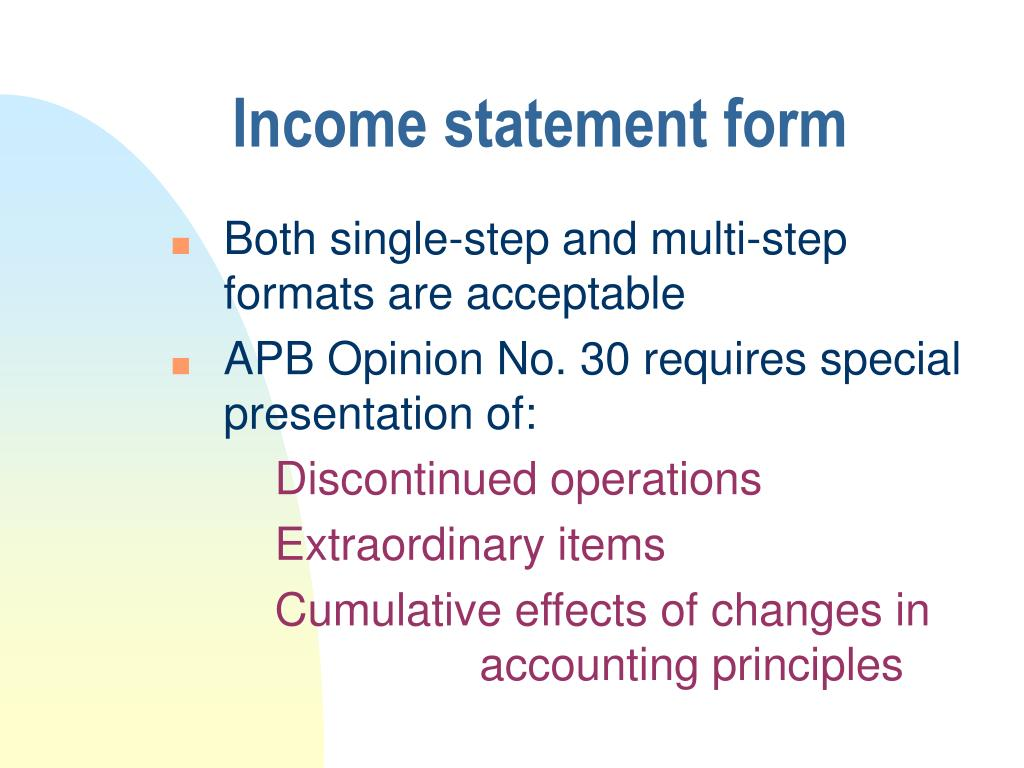 Income statement form