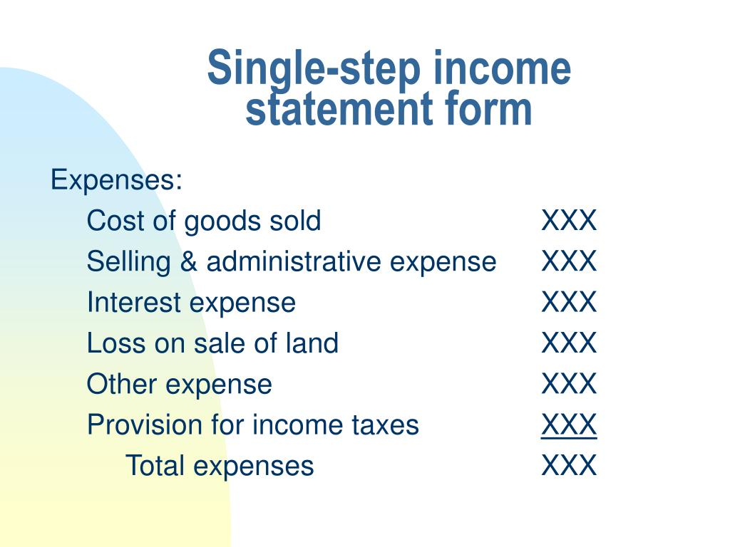Single-step income statement form