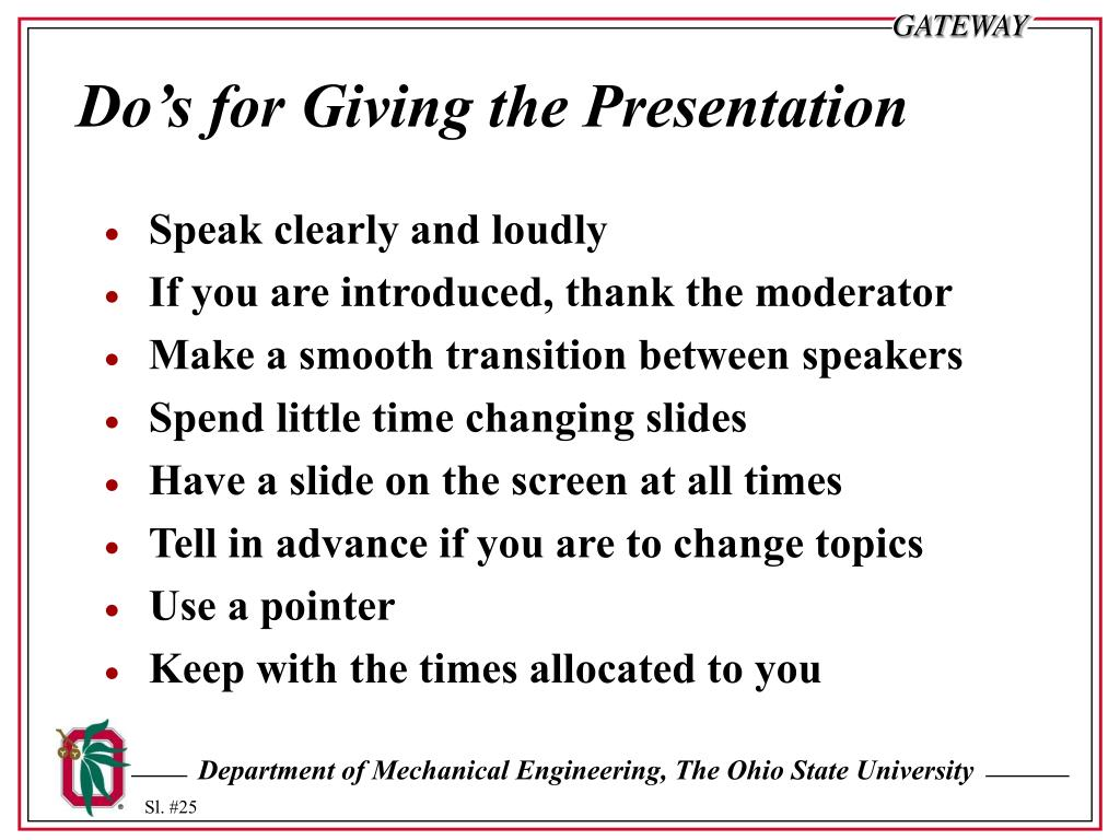 Do's for Giving the Presentation