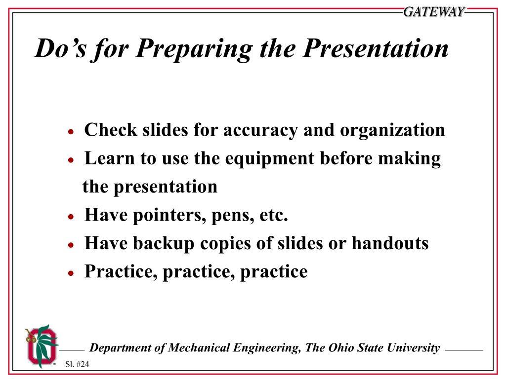 Do's for Preparing the Presentation