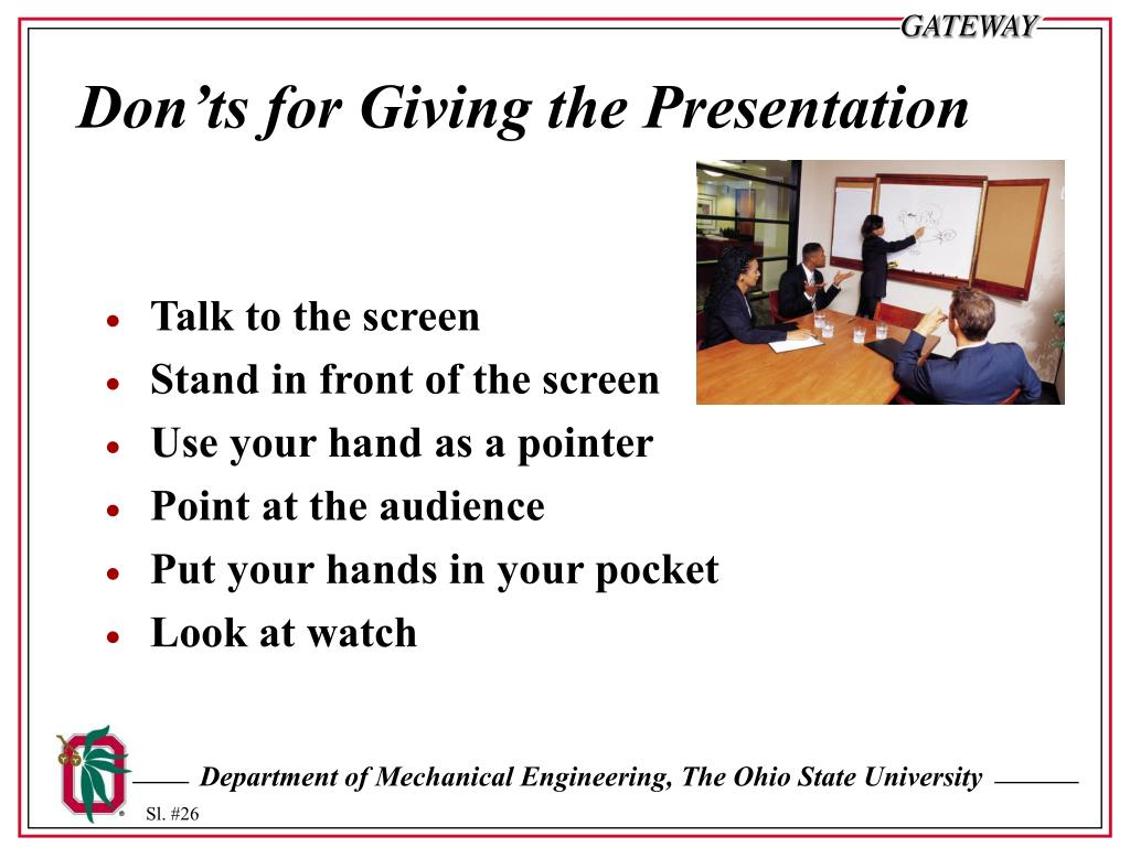 Don'ts for Giving the Presentation