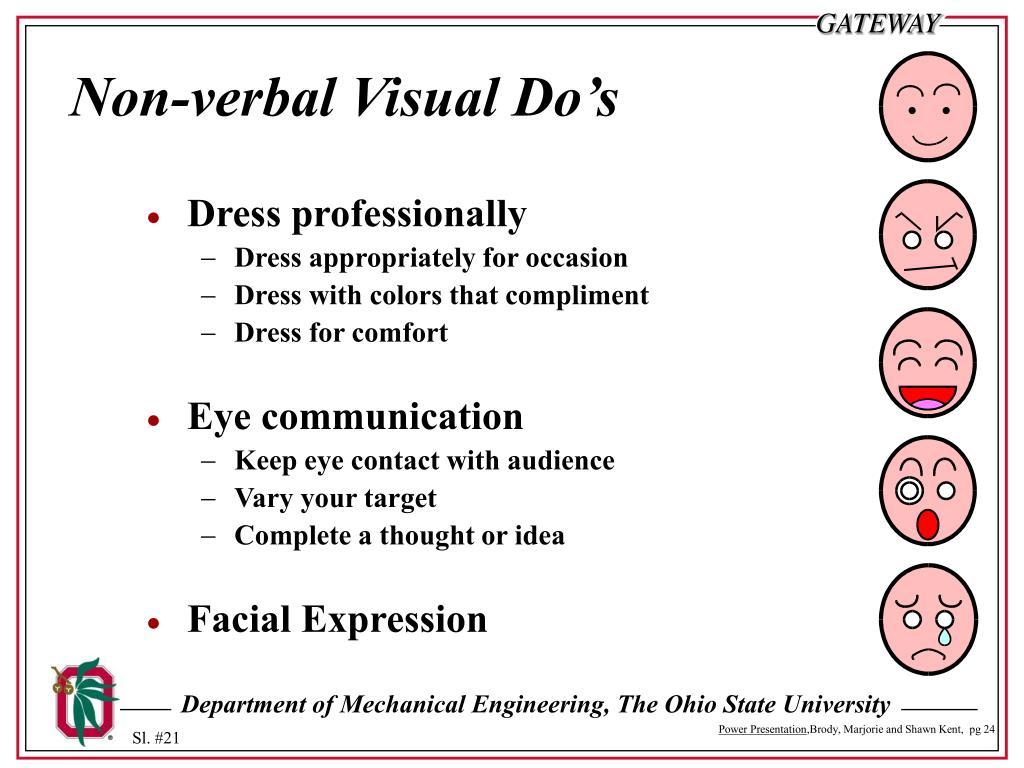 Non-verbal Visual Do's