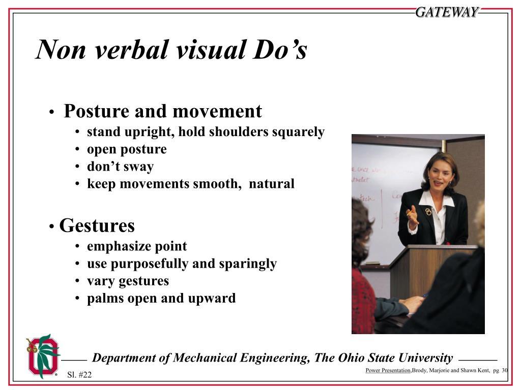 Non verbal visual Do's