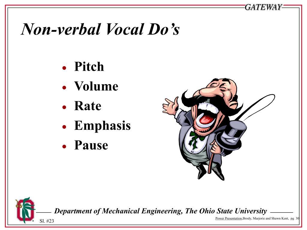 Non-verbal Vocal Do's