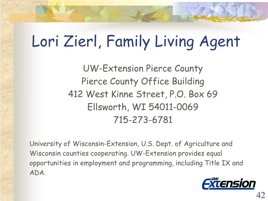 Lori Zierl, Family Living Agent