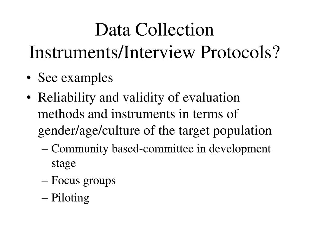 Data Collection Instruments/Interview Protocols?