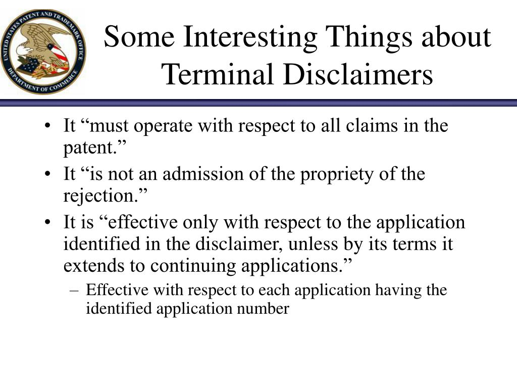 Some Interesting Things about Terminal Disclaimers