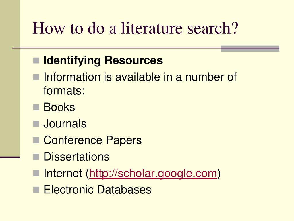 How to do a literature search?