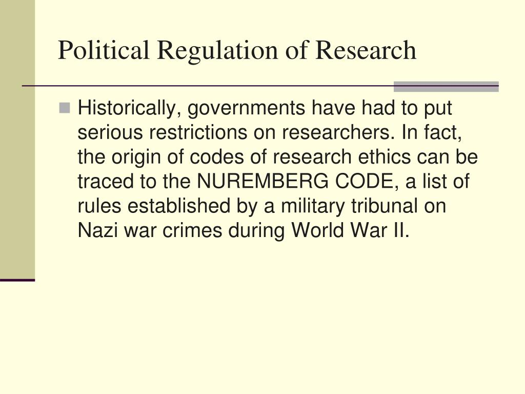 Political Regulation of Research