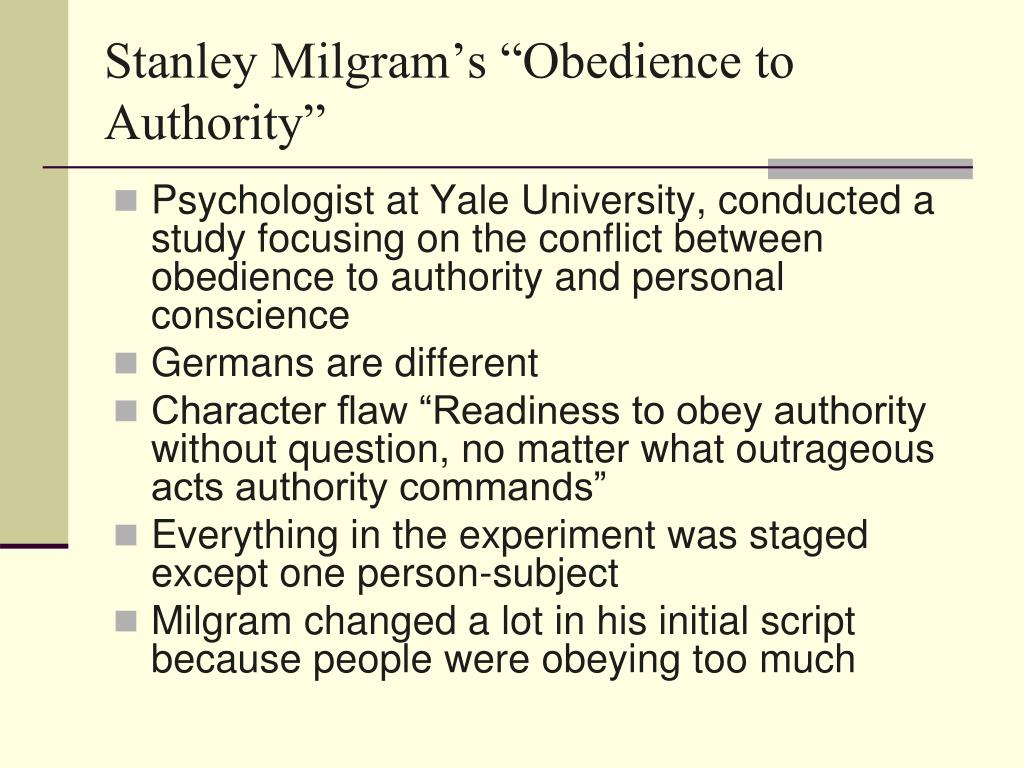"Stanley Milgram's ""Obedience to Authority"""