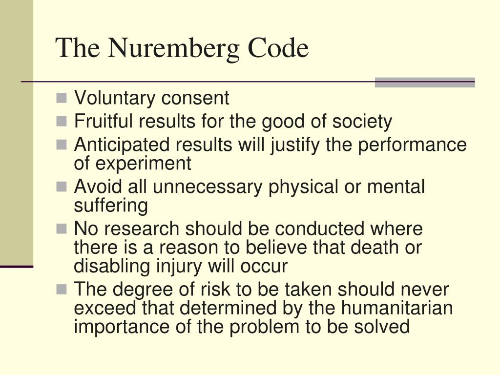 ethics of the nuremberg code essay