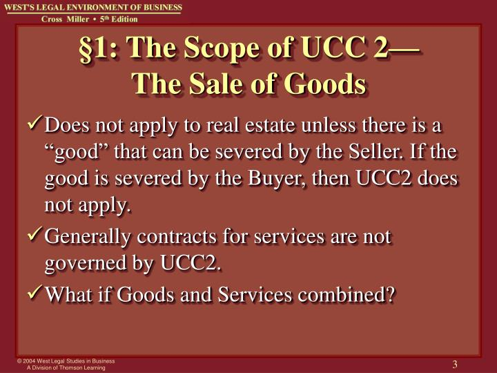 1 the scope of ucc 2 the sale of goods l.jpg