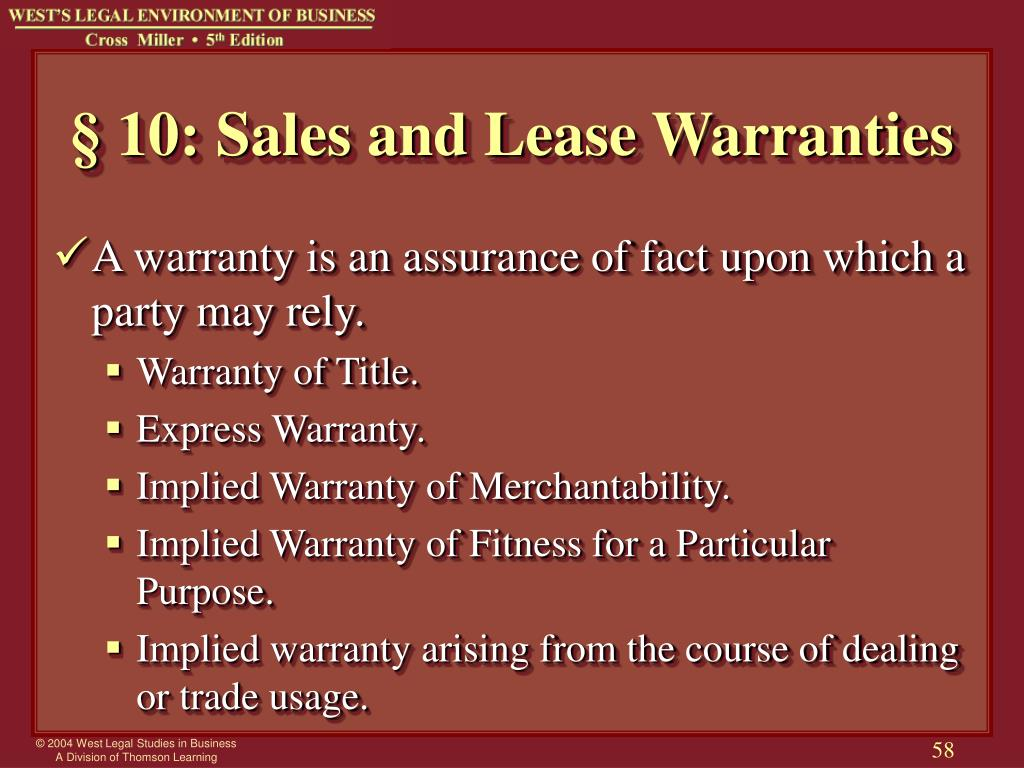 § 10: Sales and Lease Warranties