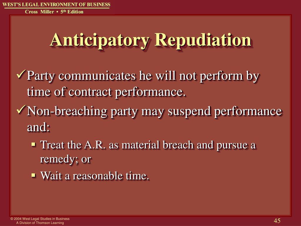 Anticipatory Repudiation